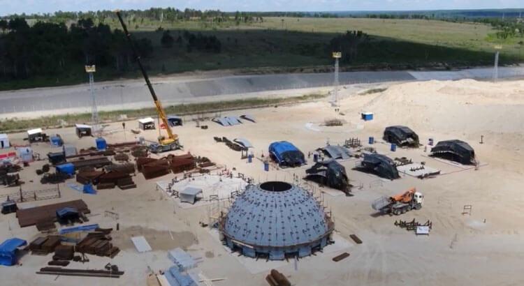 строительная площадка монтажа шарового резервуара